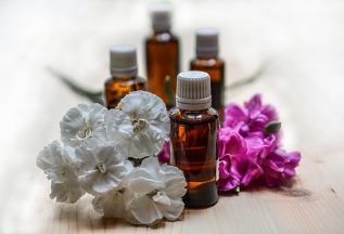 bottles with essential oils