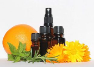 essential oil bottles with orange