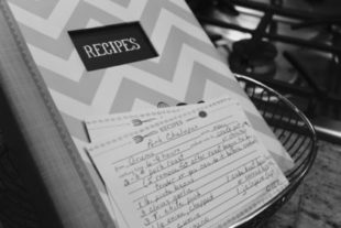 recipe book with cards