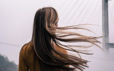 long hair blowing in wind